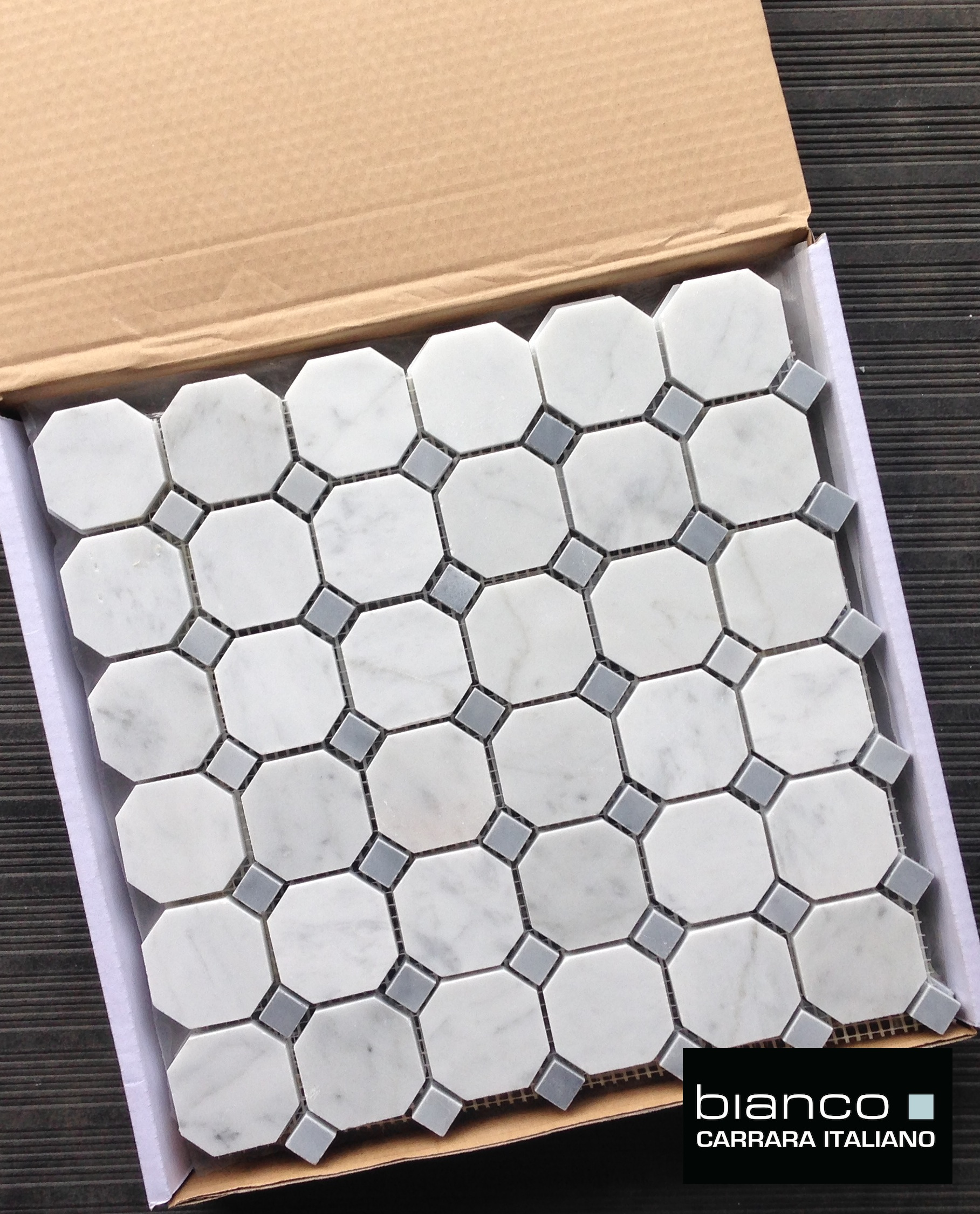 Carrara bianco 2 gray dot octagon mosaic tile the builder depot carrara bianco gray dot octagon mosaic tile dailygadgetfo Gallery