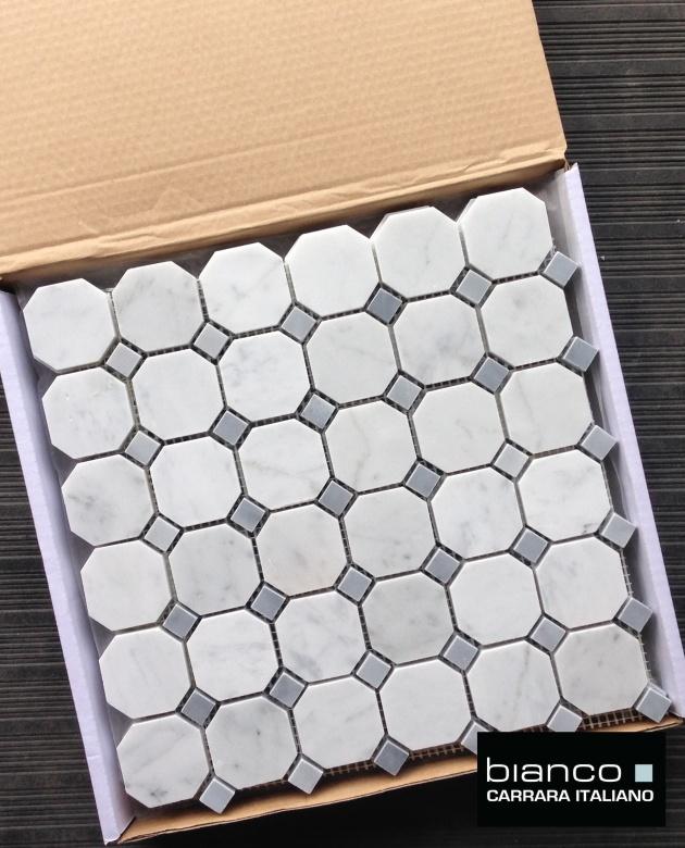 Carrara Bianco Gray Dot Octagon Mosaic Tile