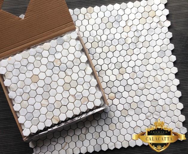 Calacatta 1x1 Hexagon Mosaic Marble Tile