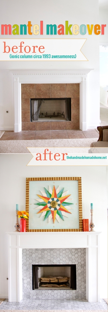 The Before and after with Carrara Hexagon Mosaic Mantel
