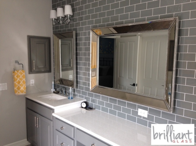 Ocean Gray 3x6 Subway Tile installed bathroom