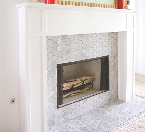 "Carrara Bianco 3"" Hexagon Mosaic Tile Fireplace"