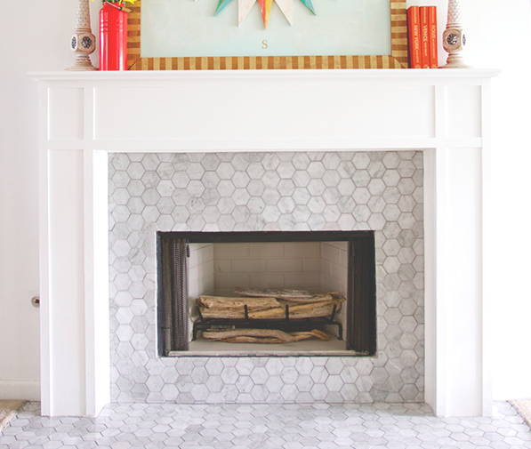 "Carrara Bianco 3"" Hexagon Fireplace"