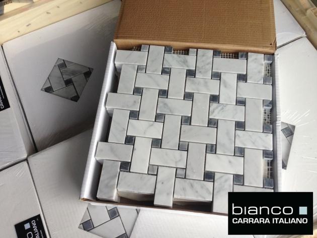 Large format Carrara Basketweave Mosaic