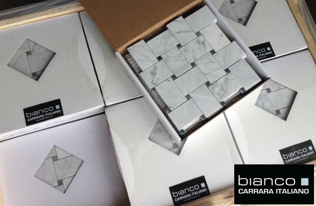 Carrara Bianco Basketweave Mosaic