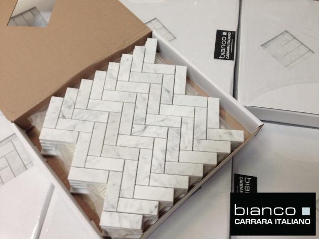 """Bianco 1x3"""" Herringbone Mosaic Tile"""