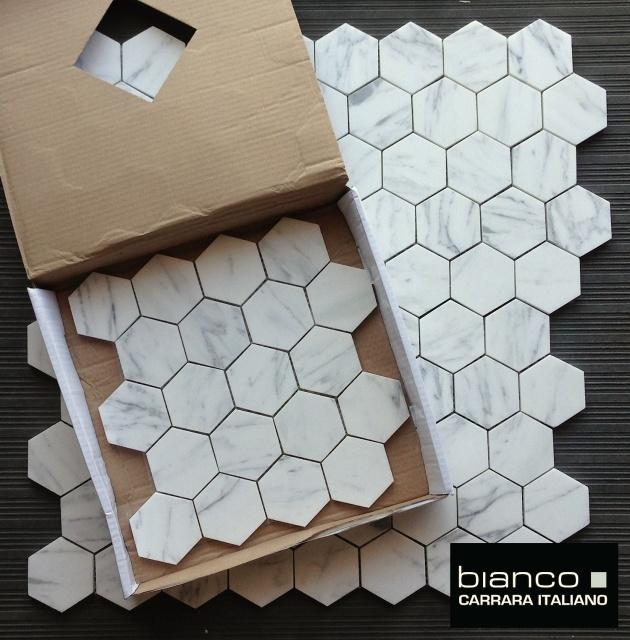 "Carrara Bianco 3"" Hexagon Marble Mosaic Tile"