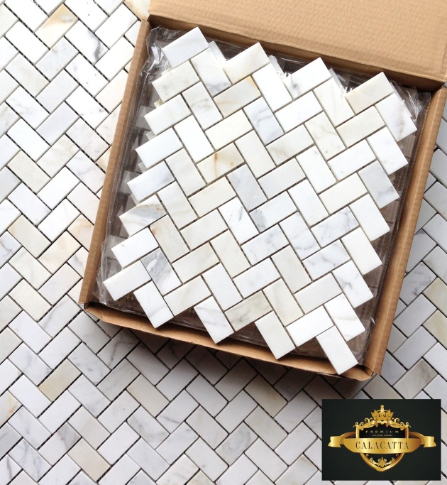 Calacatta Herringbone Marble Mosaic Tile Honed