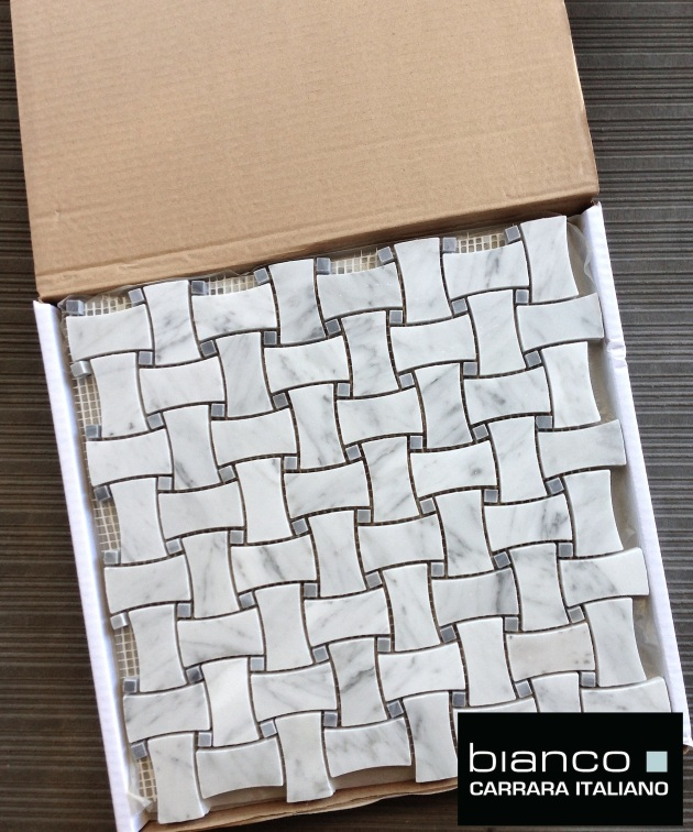 Carrara Bianco Gray Dot Dogbone Basketweave Tile