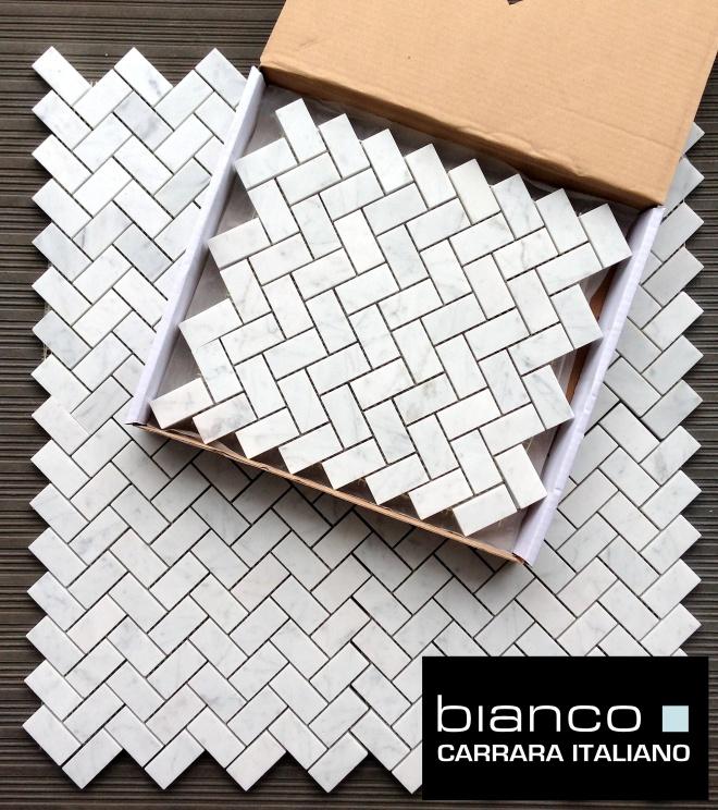 Carrara Bianco Herringbone Marble Mosaic TIle