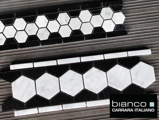 Carrara Hexagon Marble Borders