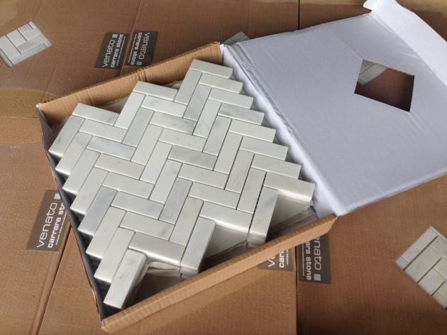Venato 1x3 Herringbone Marble Tile