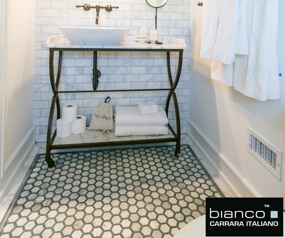 Bianco with Gray Strips Basketweave