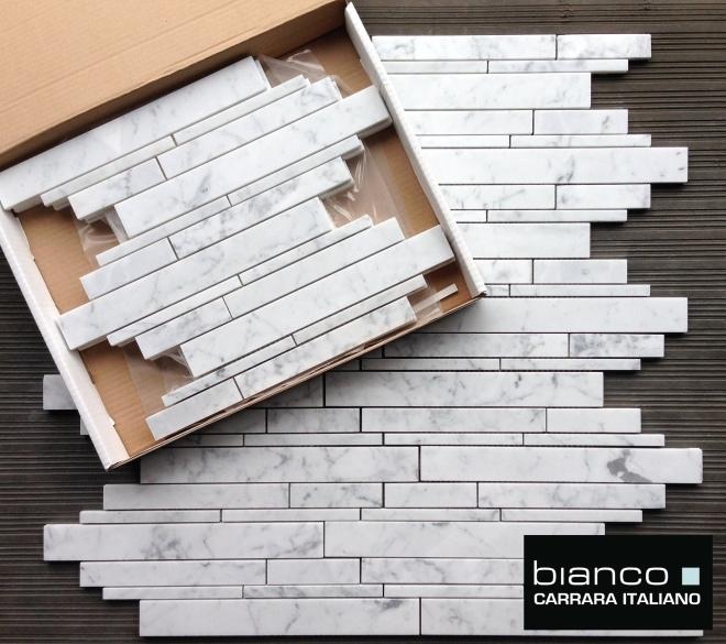 Carrara Bianco Random Length Marble Mosaic Tile