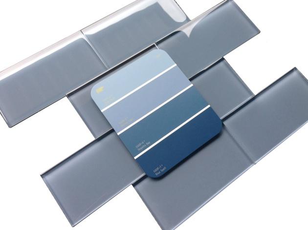 "Spa Blue 3x6"" Glass Subway Tile"