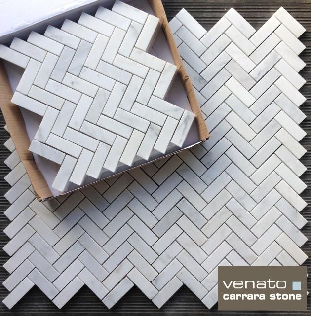 Carrara Venato 1x3 Herringbone Mosaic Tile