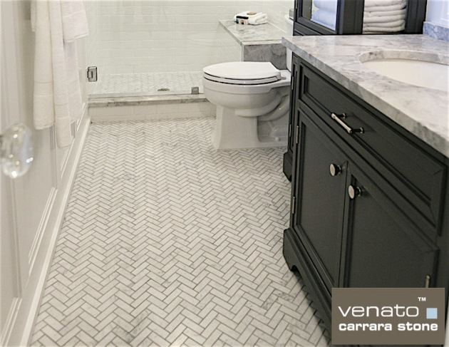 Venato 1x3 Herringbone and our White Glass 3x6