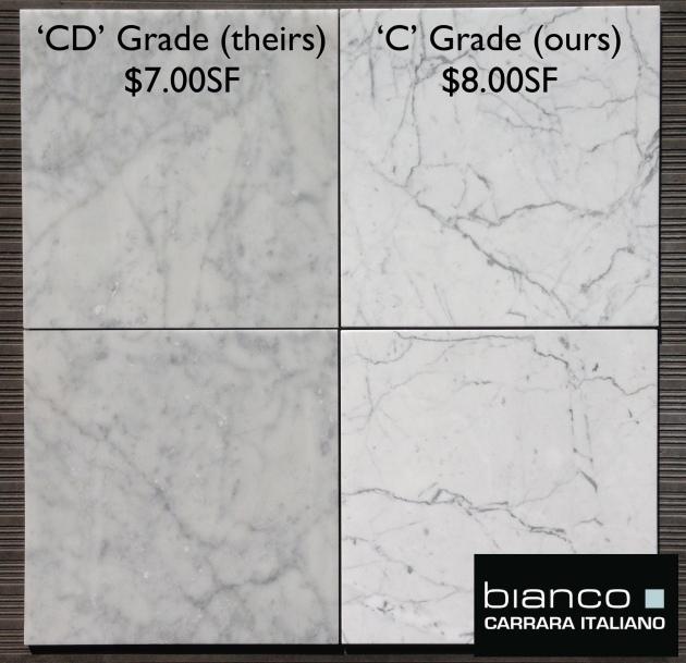 "Carrara Bianco 12x12"" Marble Tile"