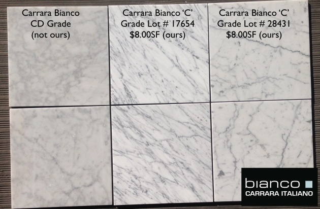 Carrara Bianco 12x12 Honed Marble Tile