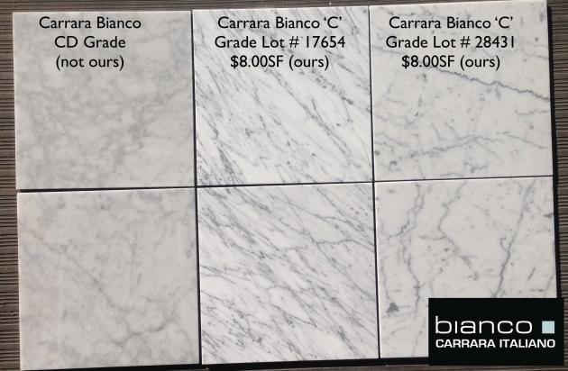 Carrara Bianco 12x12 Honed Marble Tile
