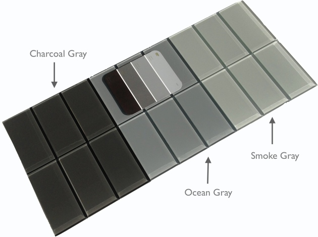 "Gray Glass 3x6"" Subway Tile"