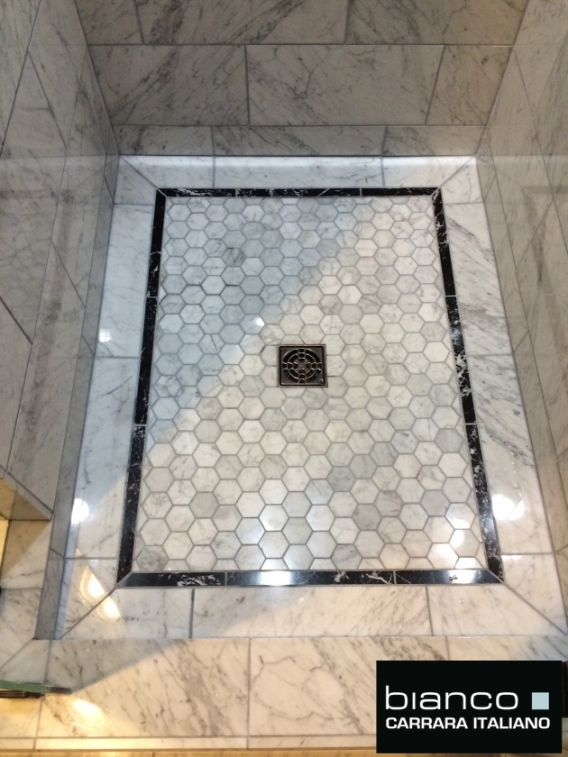 Carrara bianco polished marble bathroom the builder depot blog Marble hex tile bathroom floor