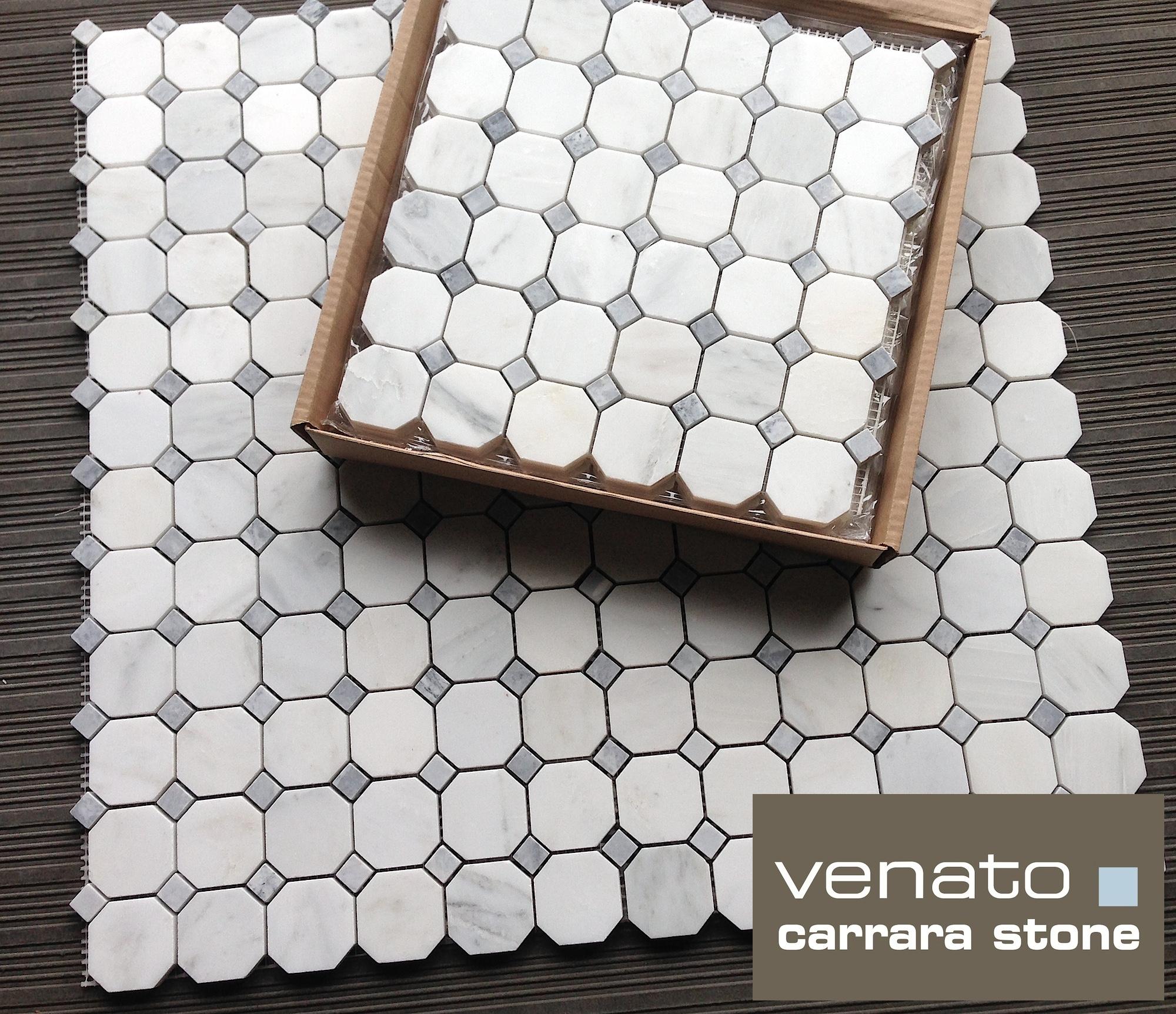 Carrara Venato Octagon Bardiglio Gray Dot Honed And