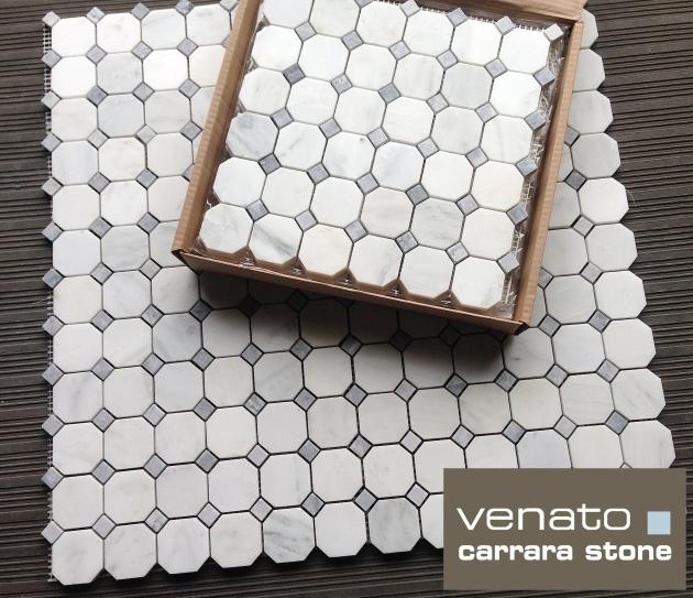 Carrara Venato Octagon Bardiglio Gray Dot