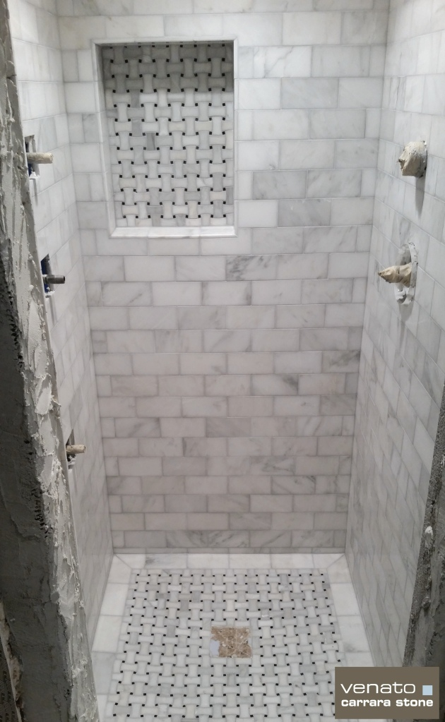 "Carrara Venato Shower with 3x6"" Tile and Dogbone Basketweave Mosaic"