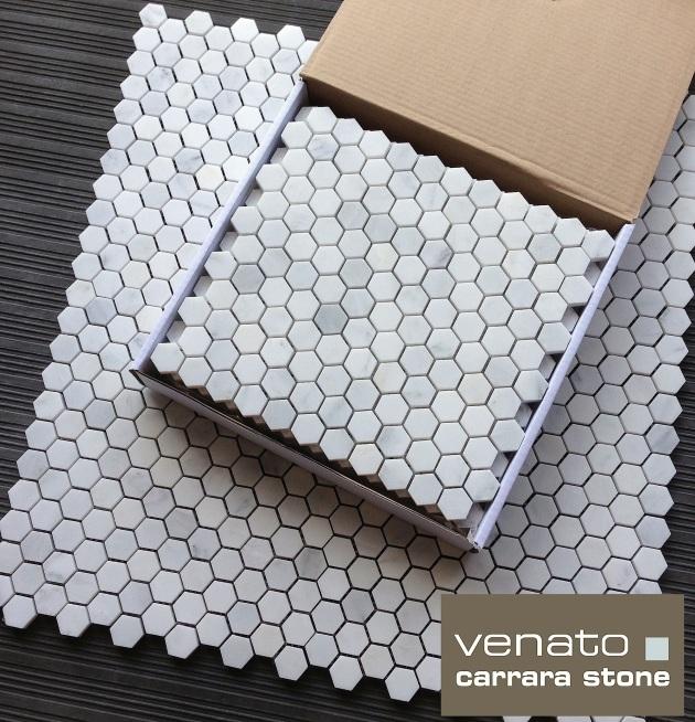 """1x1"""" Hexagon Marble Mosaic"""