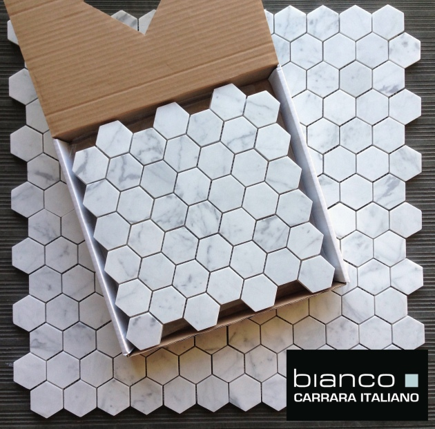"Carrara Bianco 2x2"" Hexagon Mosaic Tile"