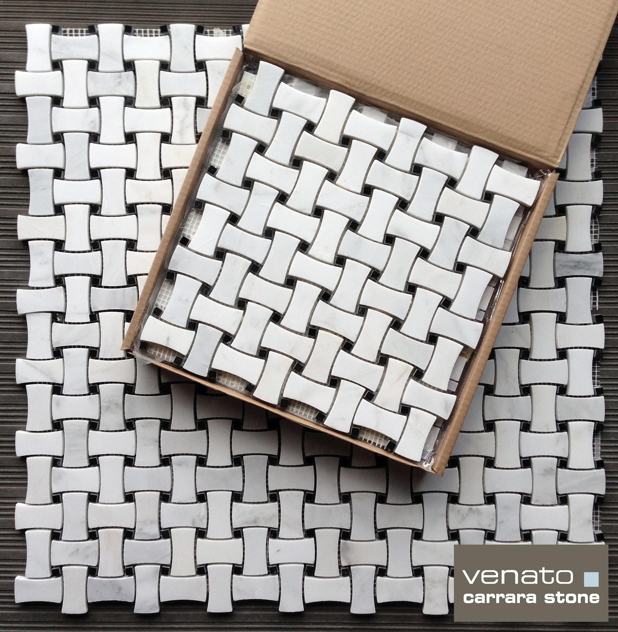 For a whiter bathroom look consider our carrara venato collection carrara venato dogbone basketweave mosaic dailygadgetfo Gallery