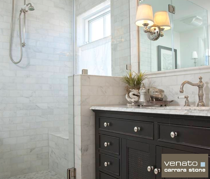 For A Whiter Bathroom Look Consider Our Carrara Venato Collection The Builder Depot Blog