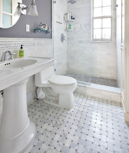 Carrara Bianco Wide Basketweave Mosaic