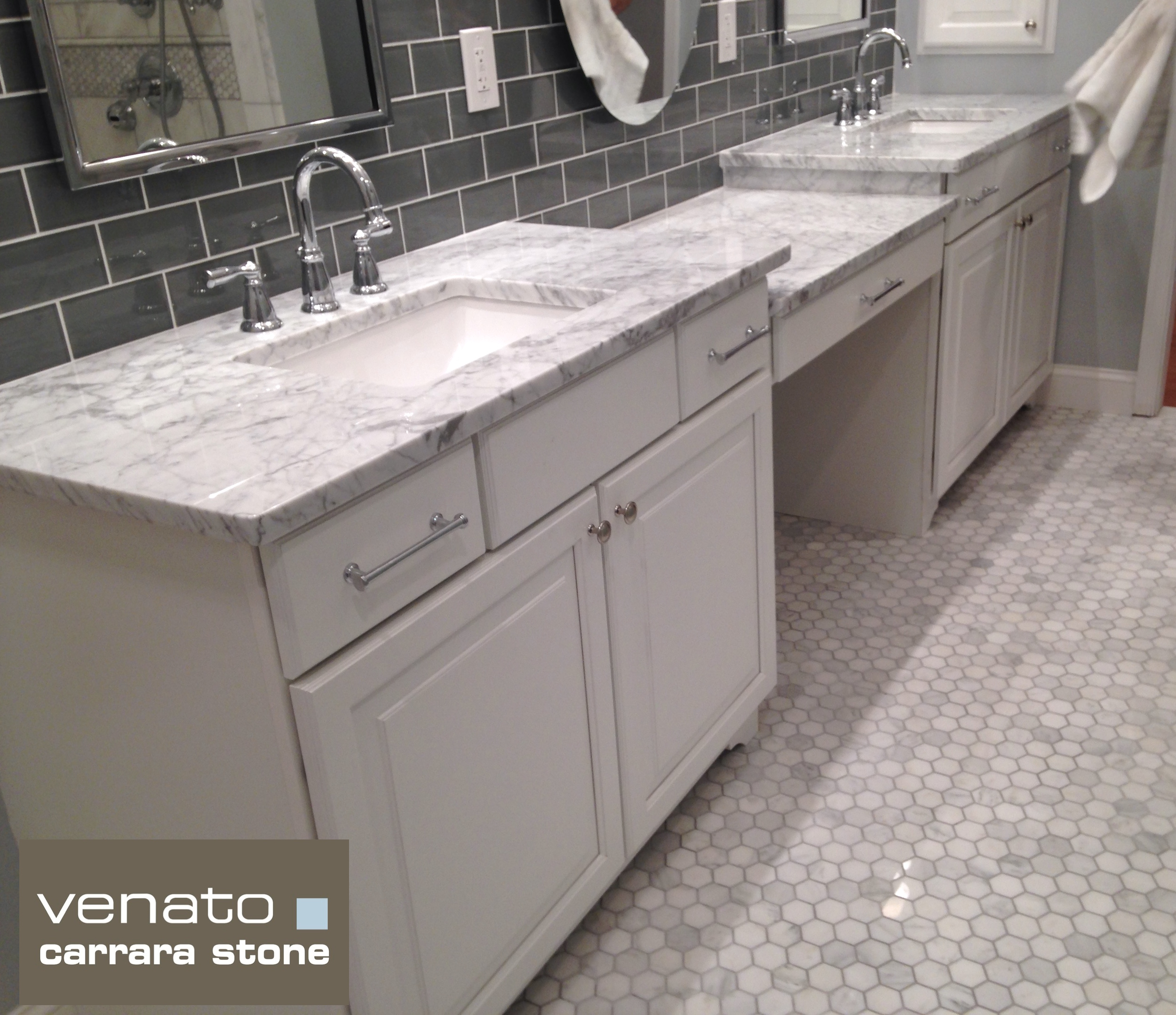 Carrara Venato 2 Hexagon Mosaic Tile Honed And Polished
