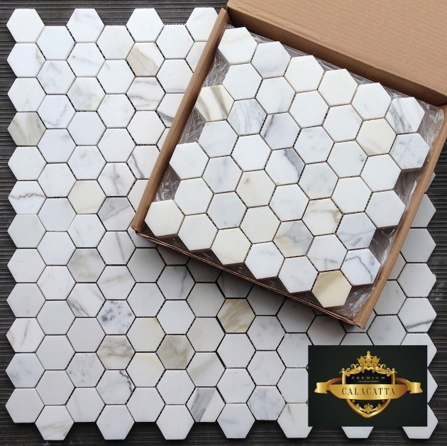 "Calacatta Gold 2"" Hexagon Mosaic Tile"