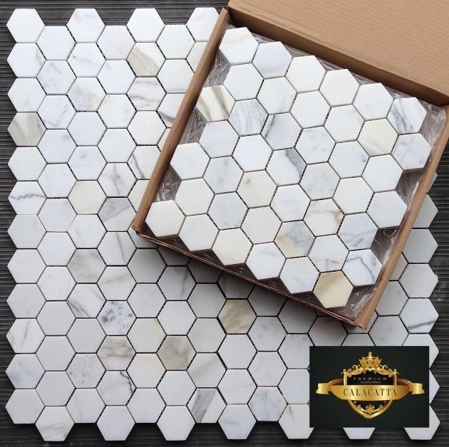 """Calacatta Gold 2"""" Hexagon Mosaic Tile"""