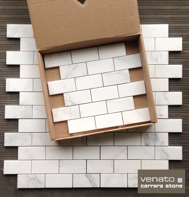 "Carrara (Carrera) Venato 2x4"" Subway Tile Polished Marble"