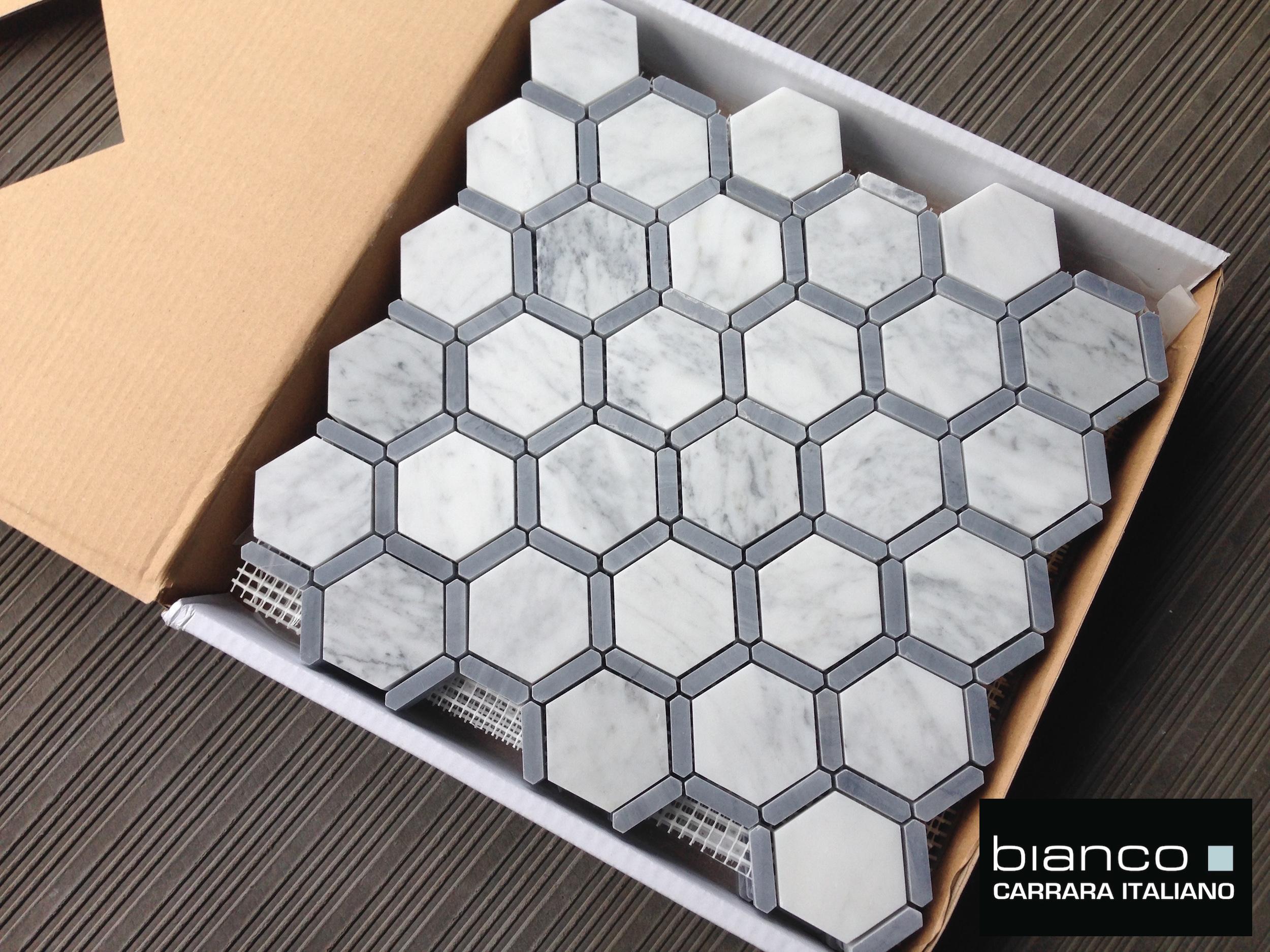 Carrara mosaic floor tile image collections tile flooring design italian carrara 2 hexagon with bardiglio gray strip the builder carrara hexagon mosaic with bardiglio gray dailygadgetfo Images