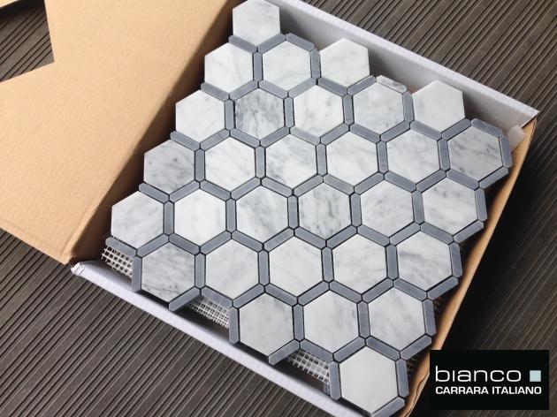 Carrara Hexagon Mosaic with Bardiglio Gray Strip