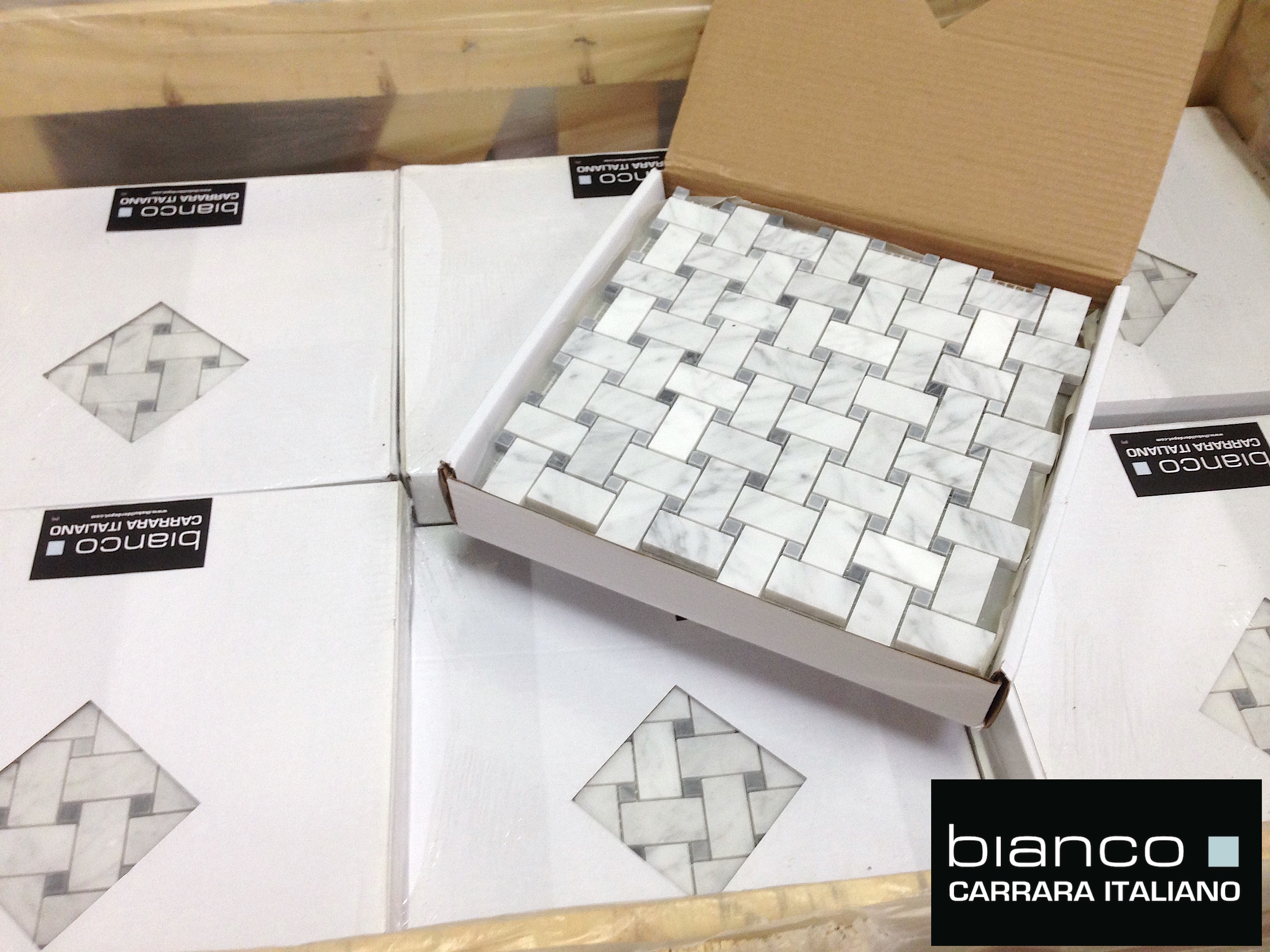 Carrara Bianco Basketweave with Bardiglio Gray Dot | the builder ...