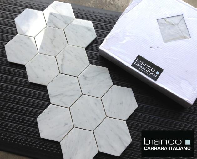 "Carrara Bianco 5x5"" Hexagon"