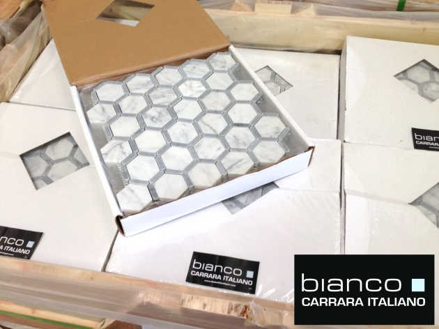 "Carrara Bianco Bardiglio Strip 2"" Hexagon Polished Marble Mosaic"