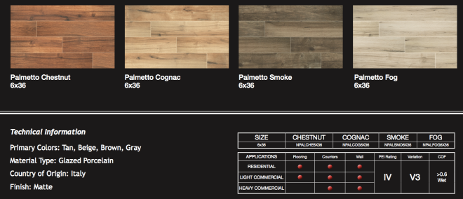 Palmetto Tile Information