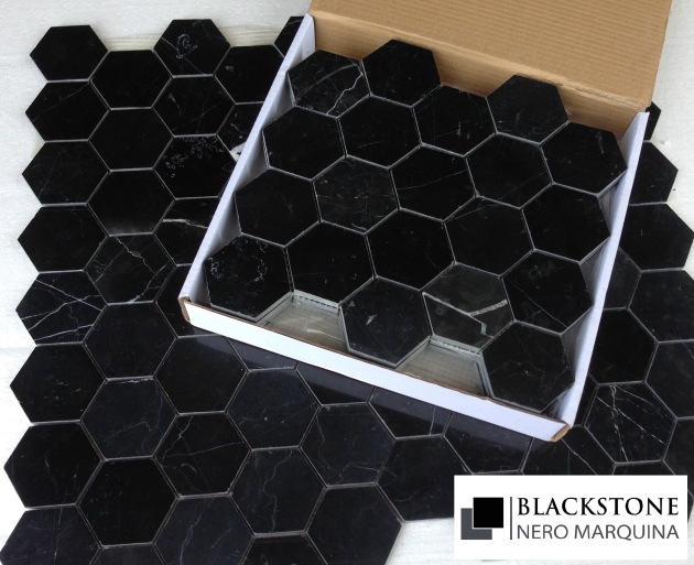 Nero Marquina 3x3 Hexagon Polished