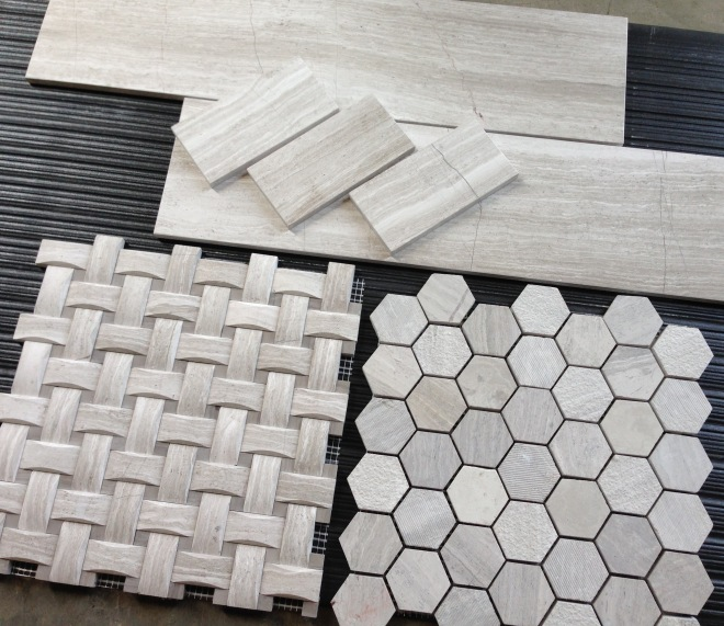White Oak Basketweave and 12x24 Tile with Hexagon