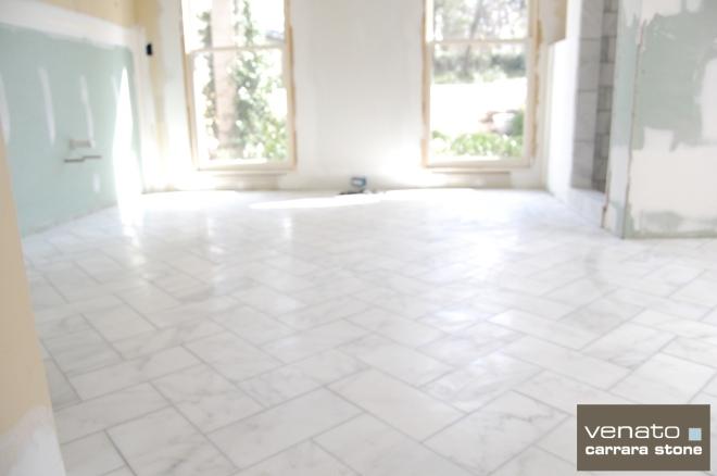 Carrara Venato 6x12 Marble Tile Herringbone
