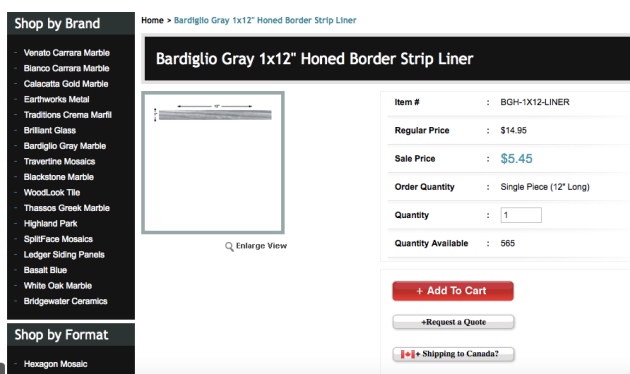 Bardiglio 1x12%22 liner