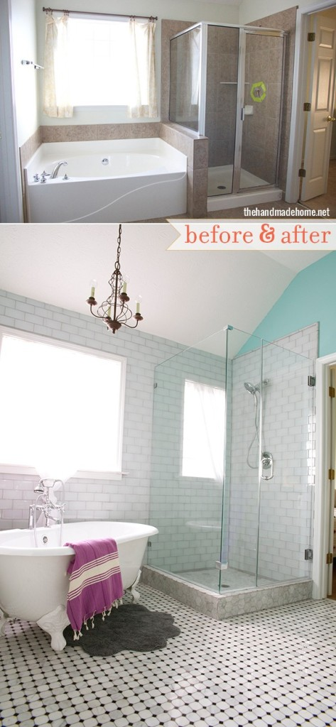 Glass Tile before and After bathroom