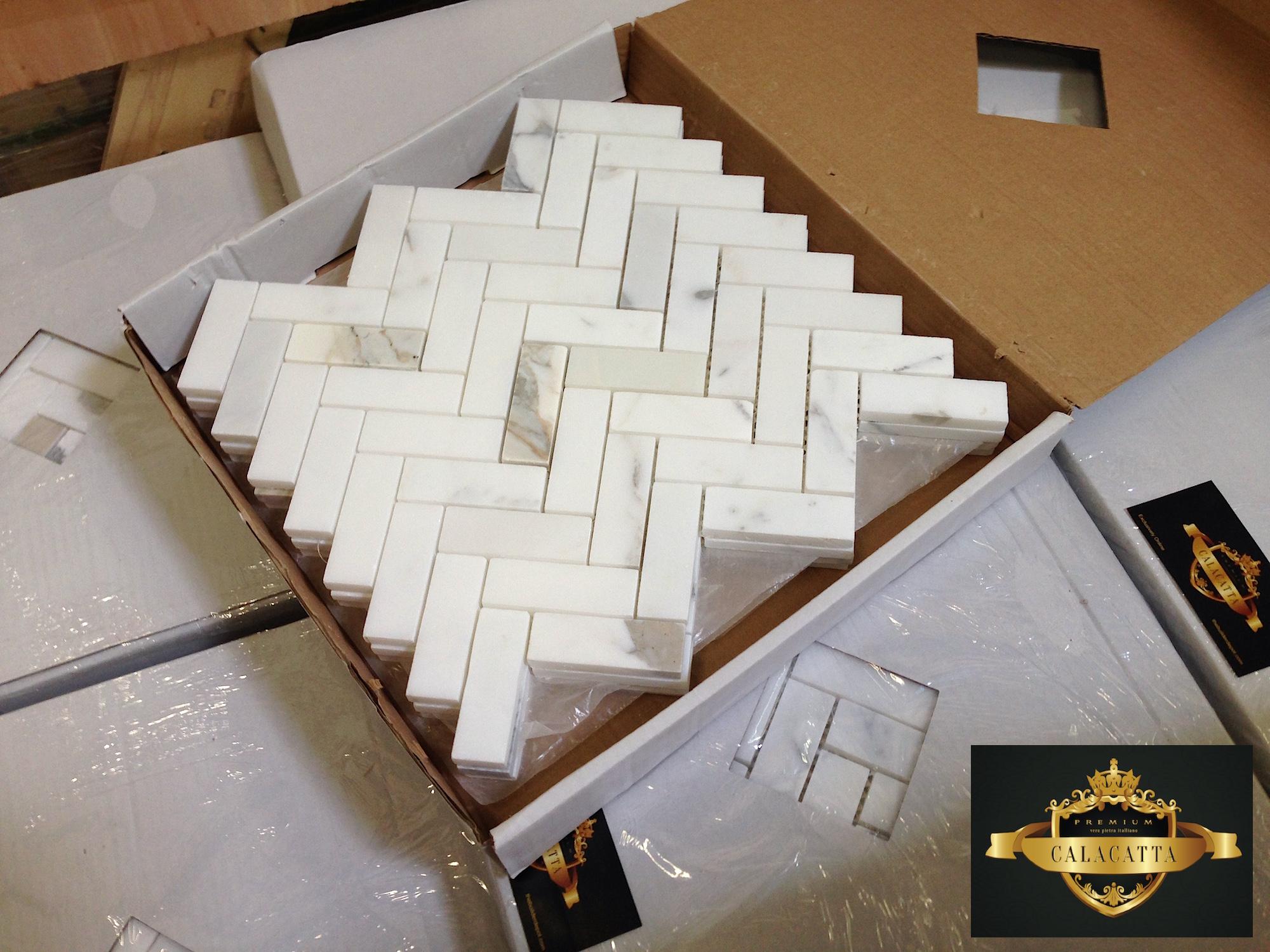 Calacatta 1×3″ Herringbone Honed Mosaic Tile and Free Shipping ...